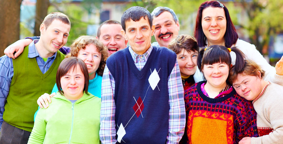 a portrait of happy people with disabilities
